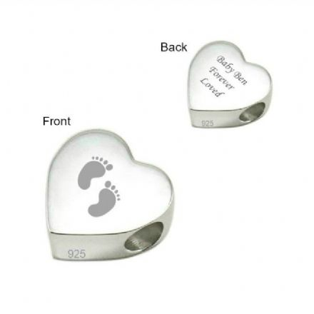 Engraved Baby Feet Charm Bead, Stg Silver